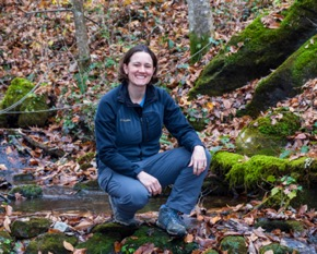 Natalie Griffiths studies aquatic ecosystem dynamics in the Walker Branch watershed.