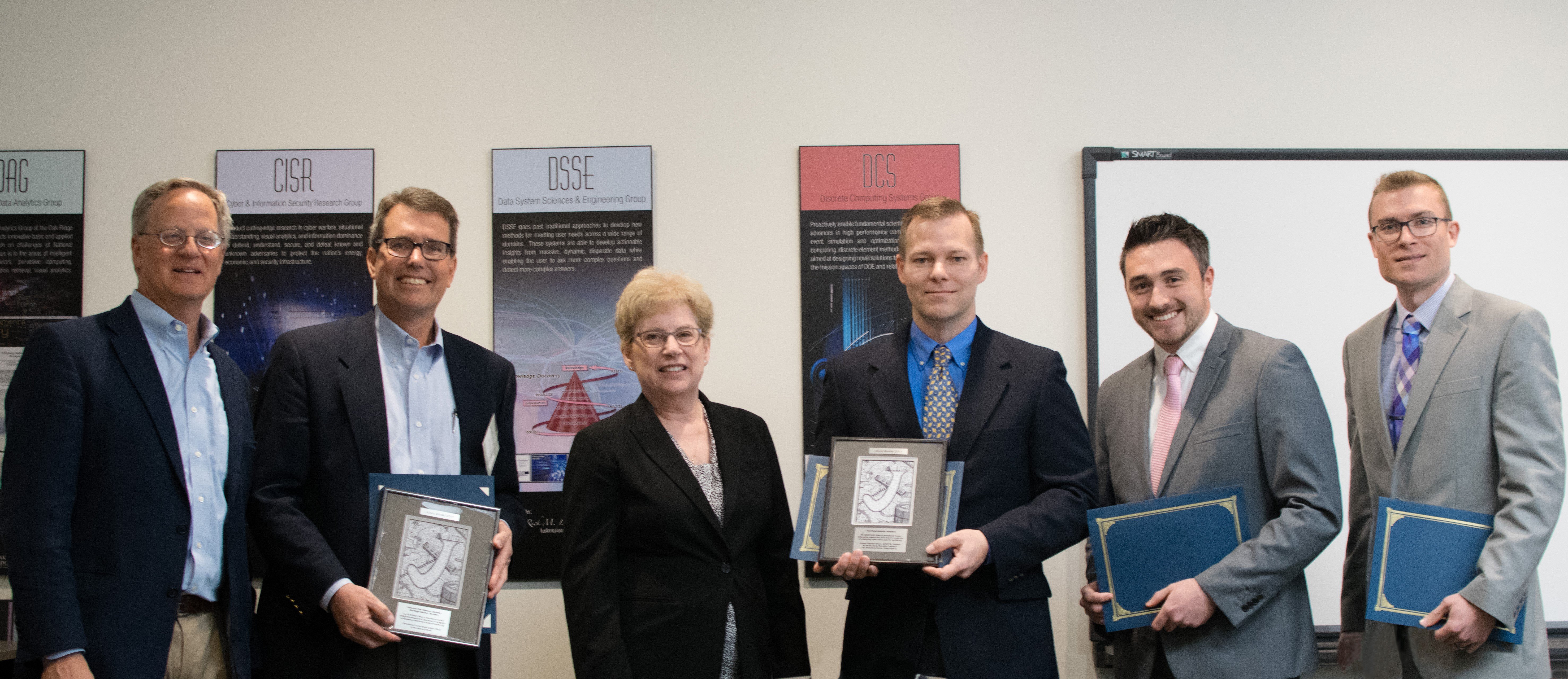 Joule Award recipients and presenters. L to R: NSITD division director Cecil Parks, Jeffrey Chapman, Arden Dougan, Brandon Grogan, Murray Purves, Jordan Lefebvre (Not pictured: William Wieselquist)