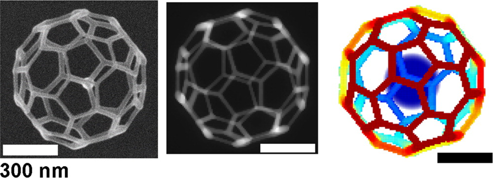 A 32-face 3-D truncated icosahedron mesh was created to test the simulation's ability to precisely construct complex geometries. The SEM image of the final experimental product (left) was highly consistent with the structure predicted by the virtual SEM image (center) and the simulated design model (right).