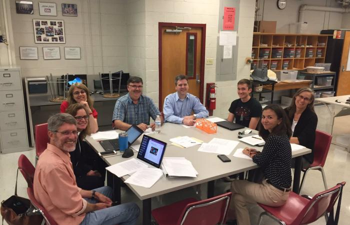 ORNL staff helped mentor the Robertsville Middle School team. Clockwise from lower left: Peter Thornton (ORNL). Holly Cross (Oak Ridge Schools), Melissa Allen (ORNL), Ralph Dinwiddie (ORNL), Eric Sampsel (Y-12), Nathan Phillip (ORNL), Michele Thornton