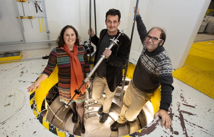 Additional coauthors on the study included (from left) Kate Page, formerly of Oak Ridge National Laboratory, Brookhaven Lab physicist Emil Bozin, and ORNL instrument scientist Joerg Neuefeind. Credit: Genevieve Martin/Oak Ridge National Laboratory, U.S. Dept. of Energy