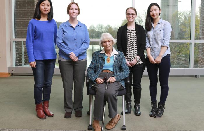 Liane Russell championed science careers for women, and ORNL's Russell Fellowships are named for her. She is shown here with the program's first group of fellows in 2015: (l-r) Huina Mao, Kelly Chipps, Catherine Schuman and Huiyan Zhu.