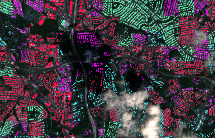 A new computational approach by ORNL can more quickly scan large-scale satellite images, such as these of Puerto Rico, for more accurate mapping of complex infrastructure like buildings. Credit: Maxar Technologies and Dalton Lunga/Oak Ridge National Laboratory, U.S. Dept. of Energy