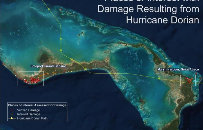 An image generated by PlanetSense shows how Oak Ridge National Laboratory scientists helped pinpoint damage to aid relief efforts in the Bahamas during Hurricane Dorian.