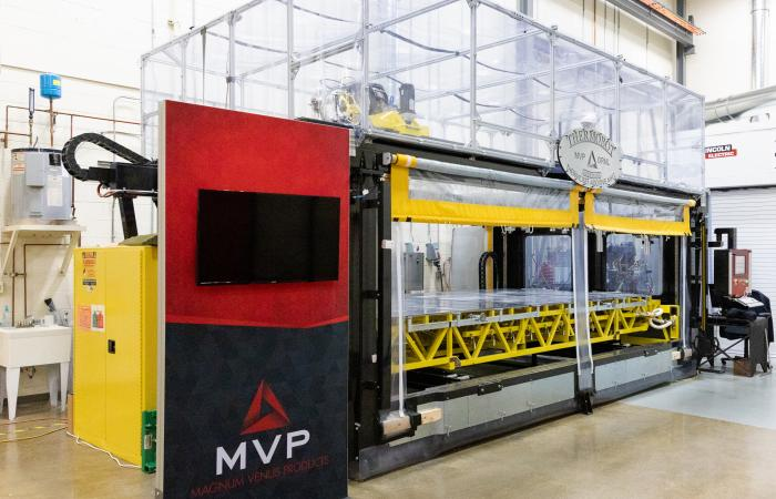 The Reactive Additive Manufacturing Machine or RAM, was recognized with a 2021 FLC award for Excellence in Technology Transfer. The large thermoset 3D printer was co-developed by ORNL and Magnum Venus Products and can produce large, lightweight parts. Credit: ORNL, U.S. Dept of Energy