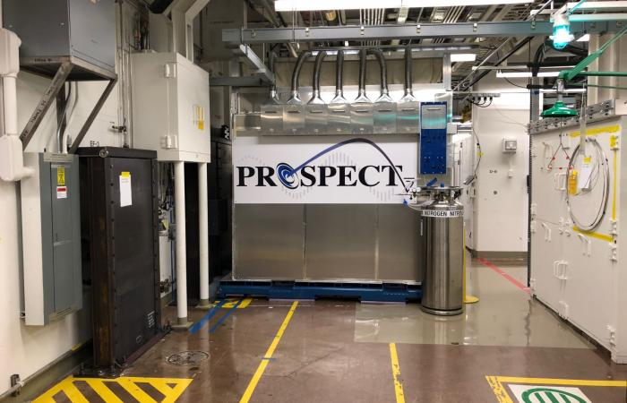 PROSPECT detector on site at HFIR. (Credit: PROSPECT collaboration)