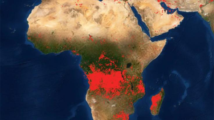 Map with focus on sub-saharan Africa