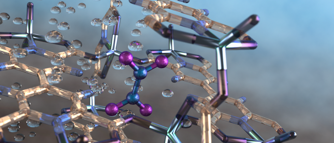 Illustration of a nitrogen dioxide molecule (depicted in blue and purple) captured in a nano-size pore of an MFM-520 metal-organic framework material as observed using neutron vibrational spectroscopy at Oak Ridge National Laboratory. Image credit: ORNL/Jill Hemman