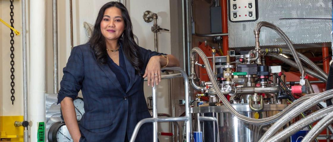 ORNL's Clarina dela Cruz uses the lab's neutron scattering facilities to examine quantum materials. Image credit: Carlos Jones, ORNL