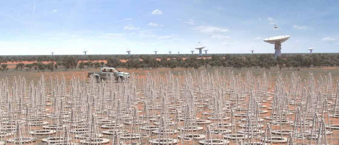 An artist rendering of the SKA's low-frequency, cone-shaped antennas in Western Australia. Credit: SKA Project Office.