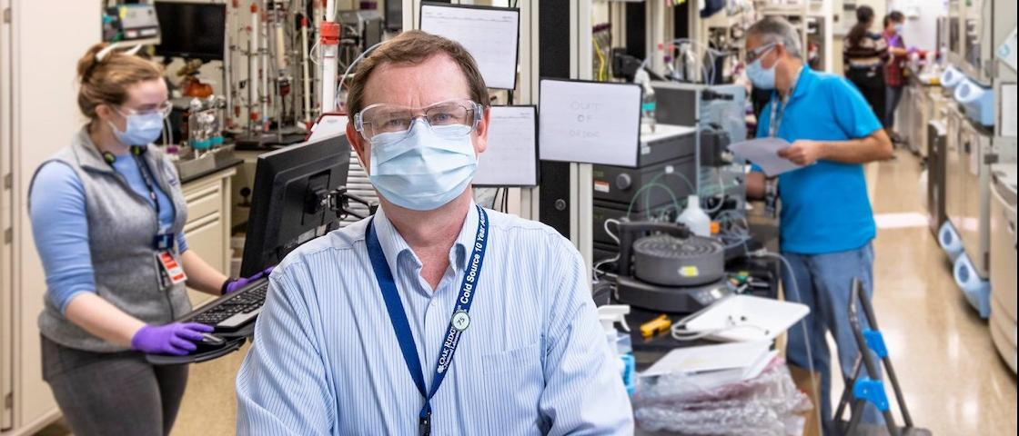 Hugh O'Neill, director of ORNL's Center for Structural and Molecular Biology, is leading a team of scientists in an ambitious research campaign to provide structural information at the atomic scale on SARS-CoV-2. He and his team are using neutron scattering at two of DOE's flagship research facilities to aid in the development of treatments to stop the deadly virus. (Left) Gwyndalyn Phillips, Hugh O'Neill, Kevin Weiss, Swati Pant, and Qiu Zhang. Credit: Carlos Jones/ORNL