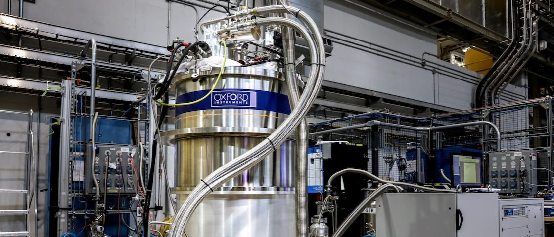 The 14-tesla magnet, fully assembled at SNS. The magnet will help researchers learn more about materials that exhibit quantum behaviors like quantum magnetism. Credit: ORNL/Genevieve Martin