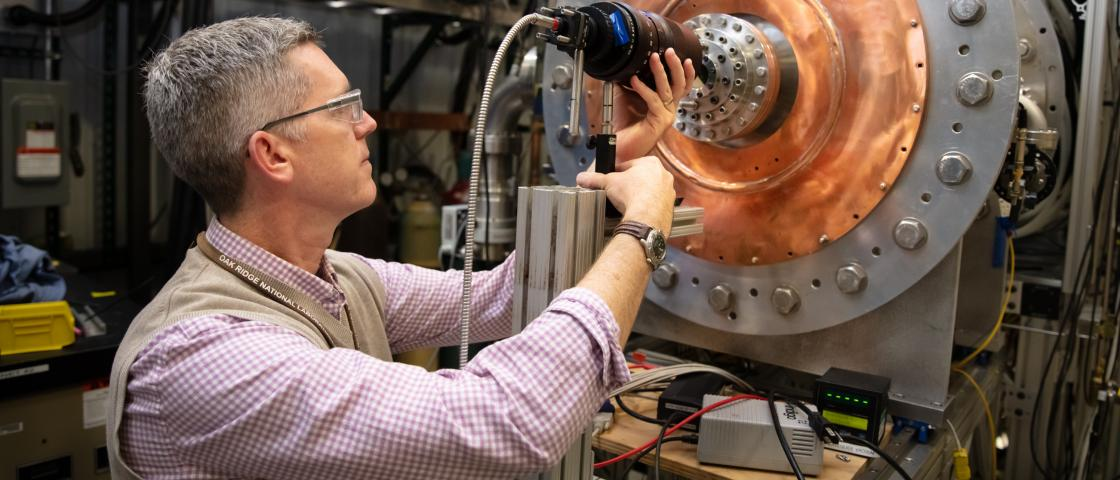 ORNL scientists are currently using Proto-MPEX to perform necessary research and development that is needed to build MPEX. Credit: Genevieve Martin/Oak Ridge National Laboratory, U.S. Dept. of Energy