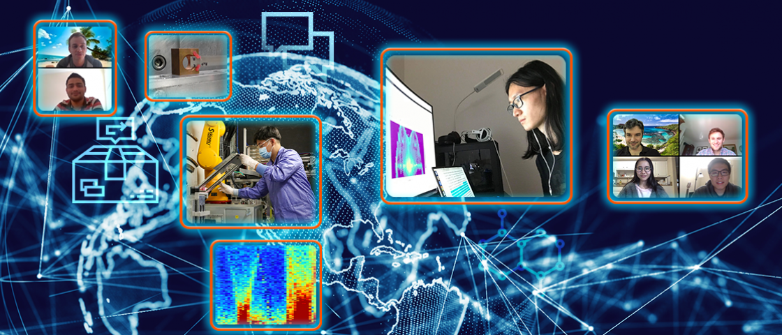 ORNL's remote access experiment program enables scientists around the world to use the laboratory's neutron sources during the pandemic. By sending samples to the lab and providing remote, real-time direction to ORNL instrument scientists, external researchers can take part in various neutron experiments without setting foot on campus. Pictured top-right, clockwise: Xing He, Olivier Delaire, Jack Bateman, Jingxuan Ding, Shan Yang, Minh Phan, Mayank Gupta, Tyson Lanigan-Atkins. Credit: Jill Hemman/ORNL