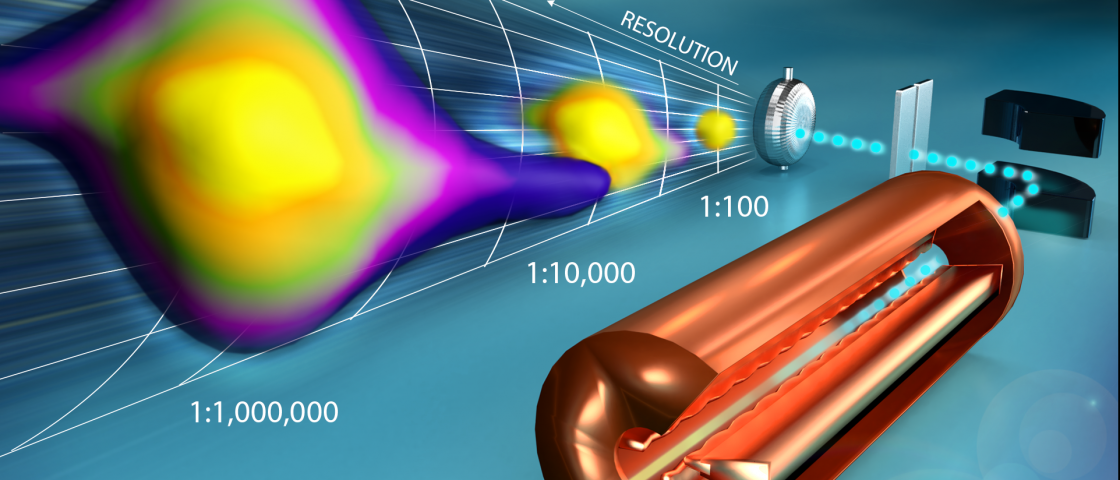 The illustration traces the path of the beam as it passes through the copper radio frequency quadrupole, the black dipole magnet, and the slitted measuring system, and onto the particle detector. The beam's structural complexity increases when measured at progressively higher resolutions. Credit: Jill Hemman/ORNL