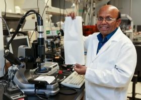 Parans Paranthaman, a researcher in the Chemical Sciences Division at ORNL, coordinated research efforts to study the filter efficiency of the N95 material. His published results represent one of the first studies on polypropylene as it relates to COVID-19. Credit: ORNL/U.S. Dept. of Energy