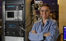 To develop complex materials with superior properties, Vera Bocharova uses diverse methods including broadband dielectric spectroscopy. Credit: Oak Ridge National Laboratory, U.S. Dept. of Energy; photographer Jason Richards