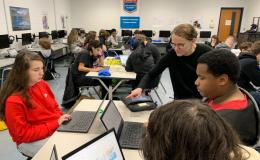 Catherine Schuman during Hour of Code