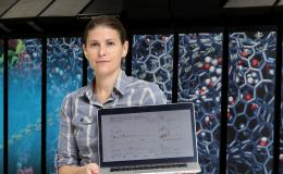 Computational biophysicist Ada Sedova is using experiments and high-performance computing to explore the properties of biological systems and predict their form and function, including research to accelerate drug discovery for COVID-19. Photo credit: Jason Richards, Oak Ridge National Laboratory, U.S. Dept. of Energy.