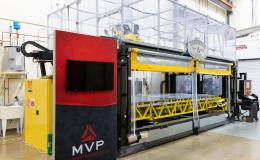 The Reactive Additive Manufacturing, or RAM, machine for large-scale thermoset printing supports two technologies licensed by MVP and developed in collaboration with ORNL. Credit: Carlos Jones/ORNL, U.S. Dept. of Energy.