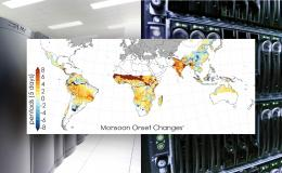Members of the international team simulated changes to the start times of monsoon seasons across the globe, with warm colors representing onset delays. Credit: Moetasim Ashfaq and Adam Malin/Oak Ridge National Laboratory, U.S. Dept. of Energy