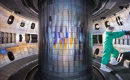 This photo shows the interior of the vessel of the General Atomics DIII-D National Fusion Facility in San Diego, where ORNL researchers are testing the suitability of tungsten to armor the inside of a fusion device. Credit: General Atomics
