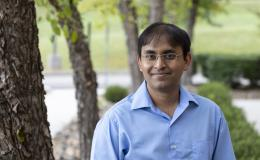 Suman Debnath is using simulation algorithms to accelerate understanding of the modern power grid and enhance its reliability and resilience. Credit: Carlos Jones/ORNL, U.S. Dept. of Energy
