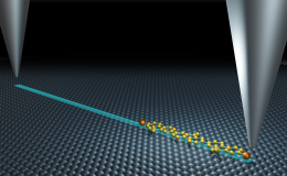 An international research team used scanning tunneling microscopy at ORNL to send and receive single molecules across a surface on an atomically precise track. Credit: Michelle Lehman/ORNL, U.S. Dept. of Energy