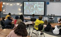 ORNL ecosystem scientist Colleen Iversen talked to fourth-grade students at Coulter Grove Intermediate School in Maryville on Friday, April 23, as part of National Environmental Education Week.