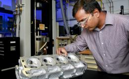 R&D 100 Award winning ACMZ Cast Aluminum Alloys, shown with lead developer Amit Shyam, were developed by a team of researchers from Oak Ridge National Laboratory with Fiat Chrysler Automobile U.S. and Nemak U.S.A.