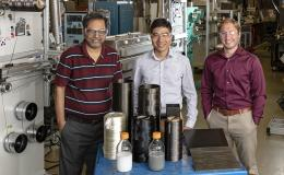 From left, Amit Naskar, Ngoc Nguyen and Christopher Bowland in ORNL's Carbon and Composites Group bring a new capability—structural health monitoring—to strong, lightweight materials promising for transportation applications.