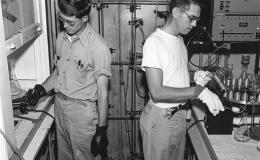 George Parker (left) and co-worker P.M. Lantz doing chemical separations in 1949.