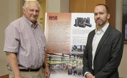 ORNL carbon fiber processing technology co-invented by Felix Paulauskas (left) has been licensed to RMX Technologies, represented by vice president for research and development Truman Bonds.