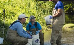 By wet-sieving stream sediment, (from left) Oak Ridge National Laboratory's Kenneth Lowe, Melanie Mayes and John Dickson sort sediment into different particle size in this stream near Rocky Top.