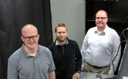 Joseph Lukens, Raphael Pooser, and Nick Peters (from left) of ORNL's Quantum Information Science Group developed and tested a new interferometer made from highly nonlinear fiber in pursuit of improved sensitivity at the quantum scale. Credit: Carlos Jones