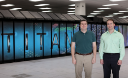 ORNL's Steven Young (left) and Travis Johnston used Titan to prove the design and training of deep learning networks could be greatly accelerated with a capable computing system.