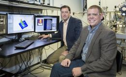 ORNL software engineer Eric Lingerfelt (right) and Stephen Jesse (left) of ORNL's Center for Nanophase Materials Sciences led the development of the Bellerophon Environment for Analysis of Materials (BEAM).
