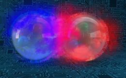 Graphical representation of a deuteron, the bound state of a proton (red) and a neutron (blue). Credit: Andy Sproles/Oak Ridge National Laboratory, U.S. Dept. of Energy.