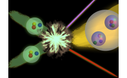 A conceptual illustration of proton-proton fusion in which two protons fuse to form a deuteron. Image courtesy of William Detmold.