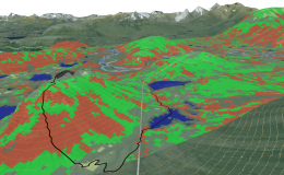 Researchers used machine learning methods on the ORNL Compute and Data Environment for Science, or CADES, to map vegetation communities in the Kougarok Watershed on the Seward Peninsula of Alaska. The colors denote different types of vegetation, such as w