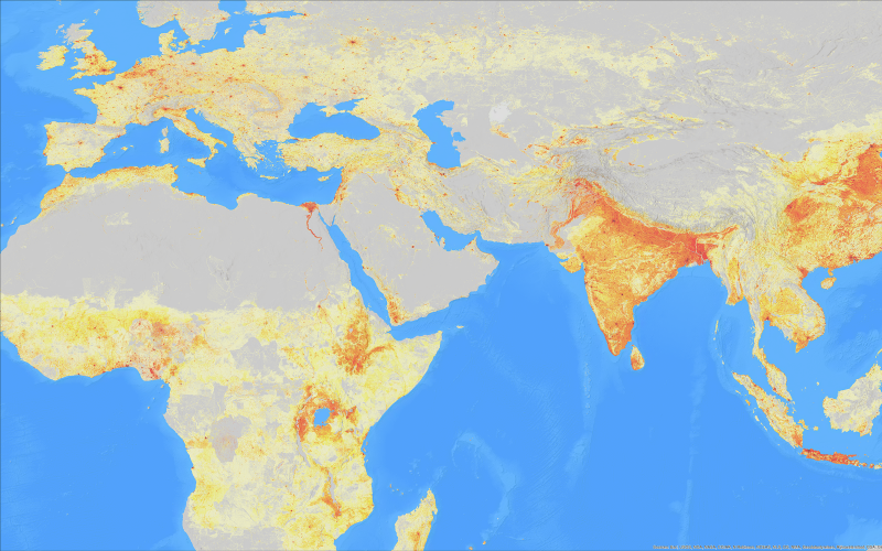 A LandScan image of population distributions. The ORNL-developed LandScan/LandCast Population Datasets and the Quantum Random Number Generator received national Excellence in Technology Transfer awards from the Federal Laboratory Consortium.