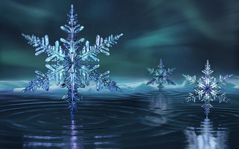 Snowflakes indicate phases of super-cold ice