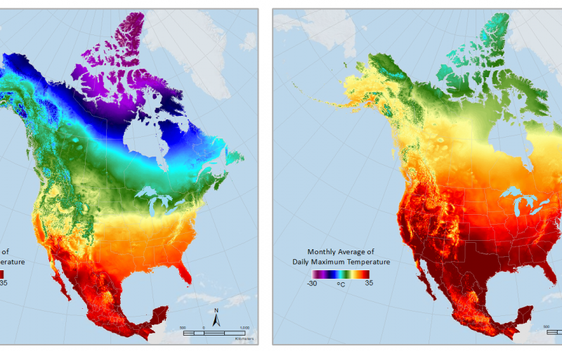 Daymet climatologies allow easy comparison of metrics like these monthly averages of maximum temperature for (left to right) January, April and August of 2019.