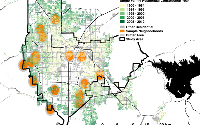 Researchers analyzed 15 years of data across 16 neighborhoods, shown in orange, in the Las Vegas Valley Water District to determine whether one home's participation in the utility's water conservation program had a measureable effect on their neighbors' l