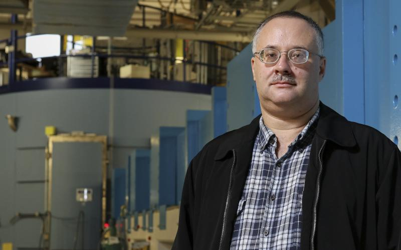 Eugene Mamontov and the BASIS beam line at the Spallation Neutron Source at ORNL. Photo credit: Jason Richards, ORNL.