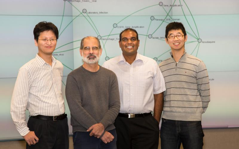 ORNL researchers (from left) Seung-Hwan Lim, Larry Roberts, Sreenivas Rangan Sukumar and Matt Lee developed a new smart data tool for medical research called ORiGAMI that has the potential to accelerate medical research and discovery.