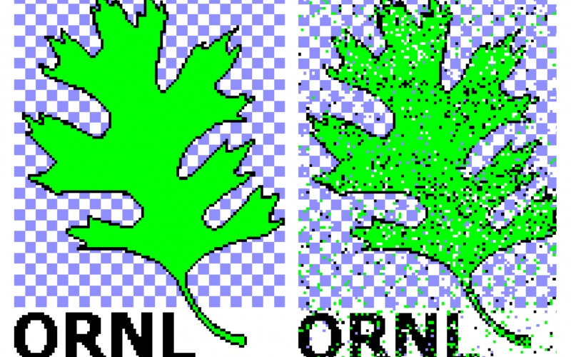 The team transmitted the ORNL logo, an oak leaf, between two end points in the laboratory with 87 percent calculated fidelity. (Left): The original 4-color, 3.4kB image. (Right): The image received using superdense coding.